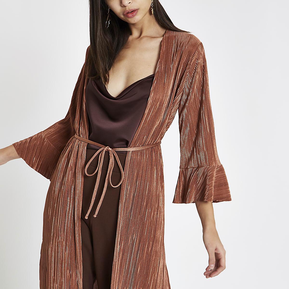 Veste kimono longue plissée rose