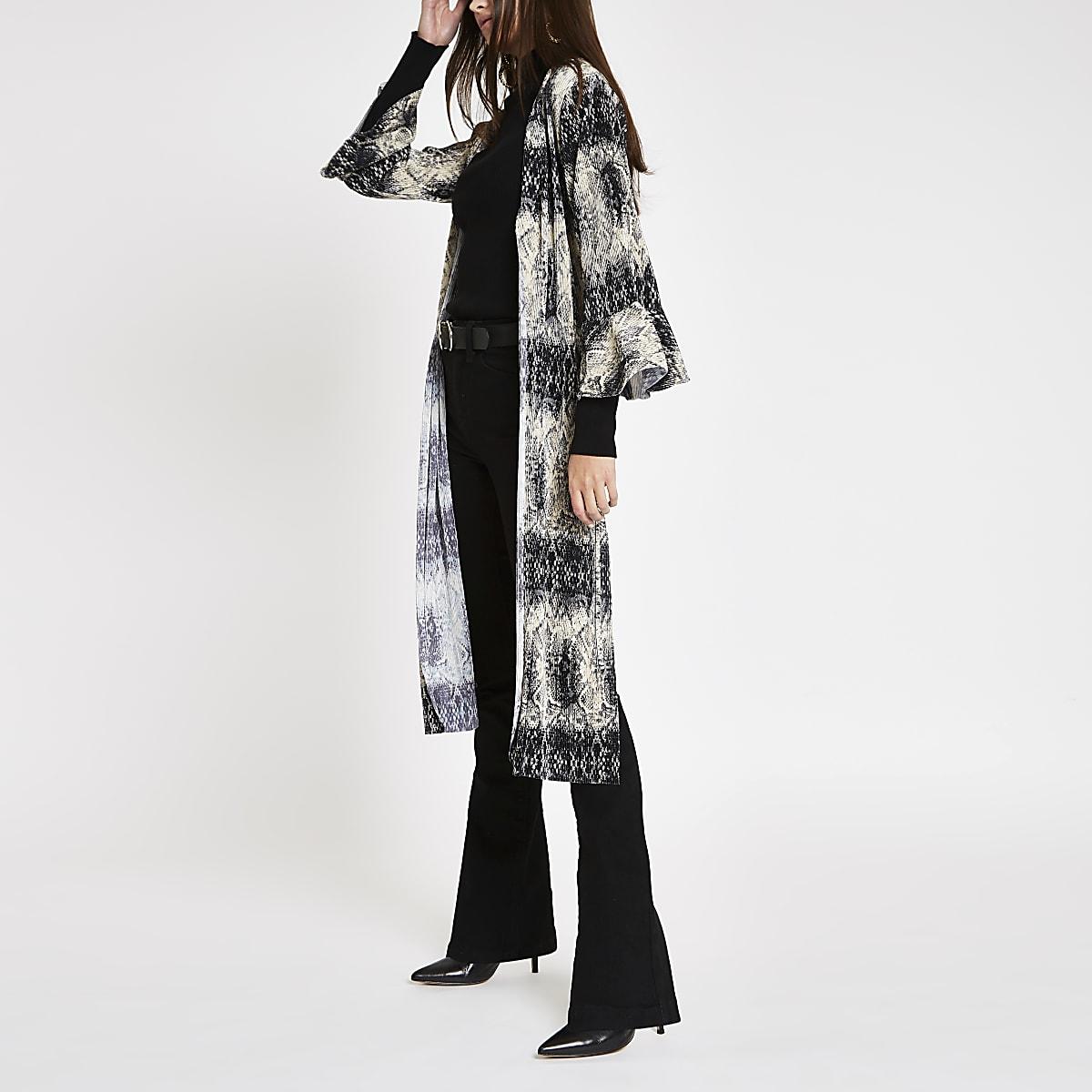 Veste kimono longue plissée à imprimé serpent grise