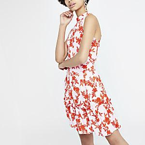 Pinkes, hochgeschlossenes Swing-Kleid mit Blumenprint