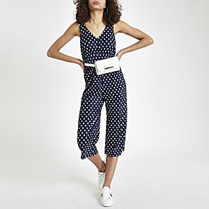 Marineblauwe plissé jumpsuit met stippen