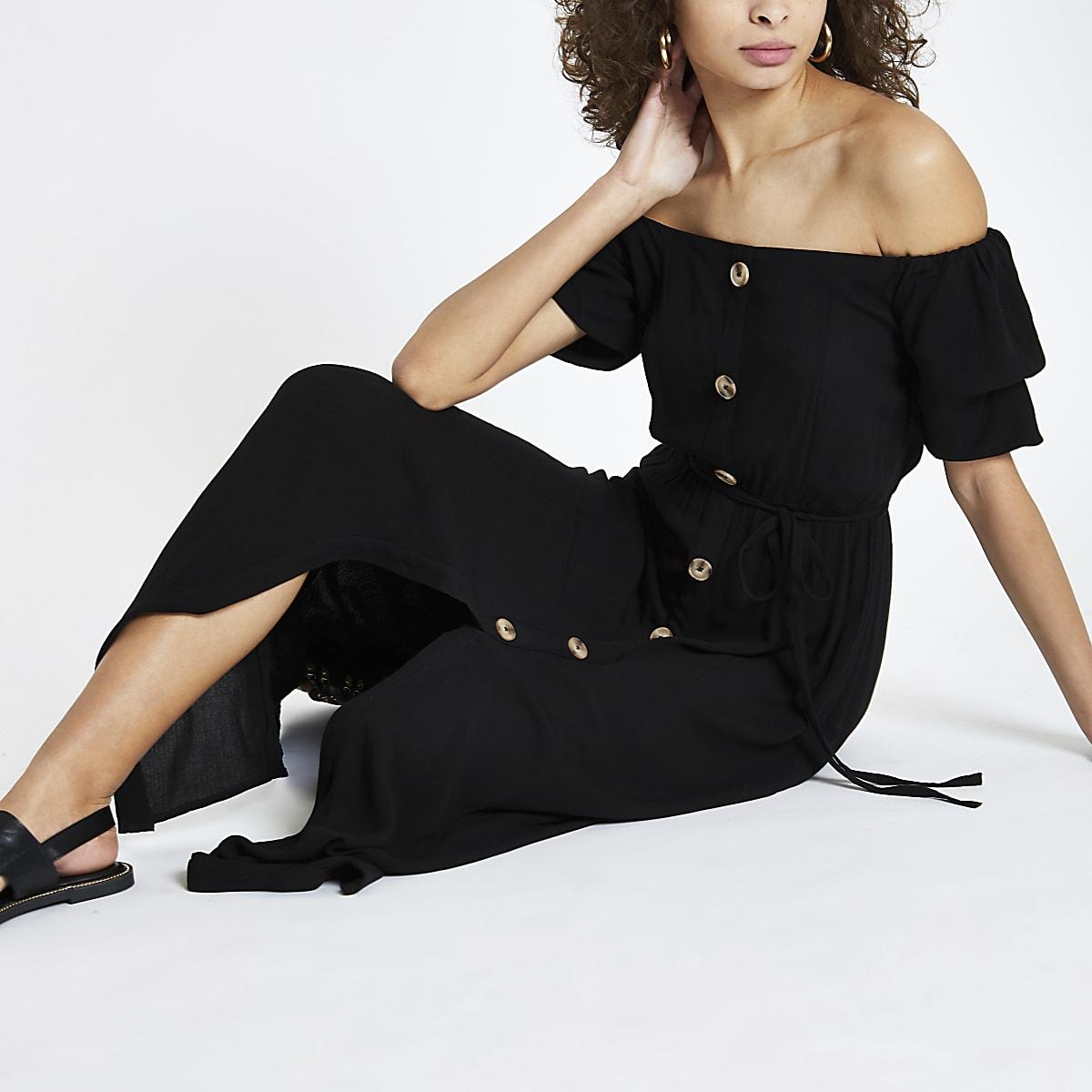 Black button front bardot maxi dress