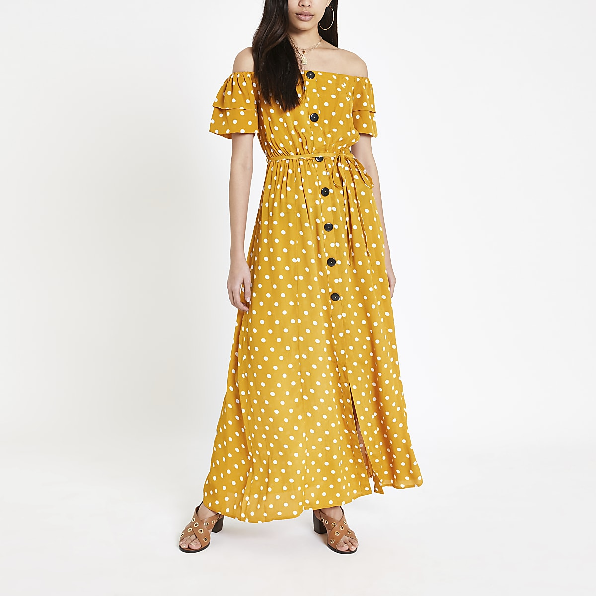 83a18127acf4 Yellow spot bardot button through maxi dress - Maxi Dresses ...