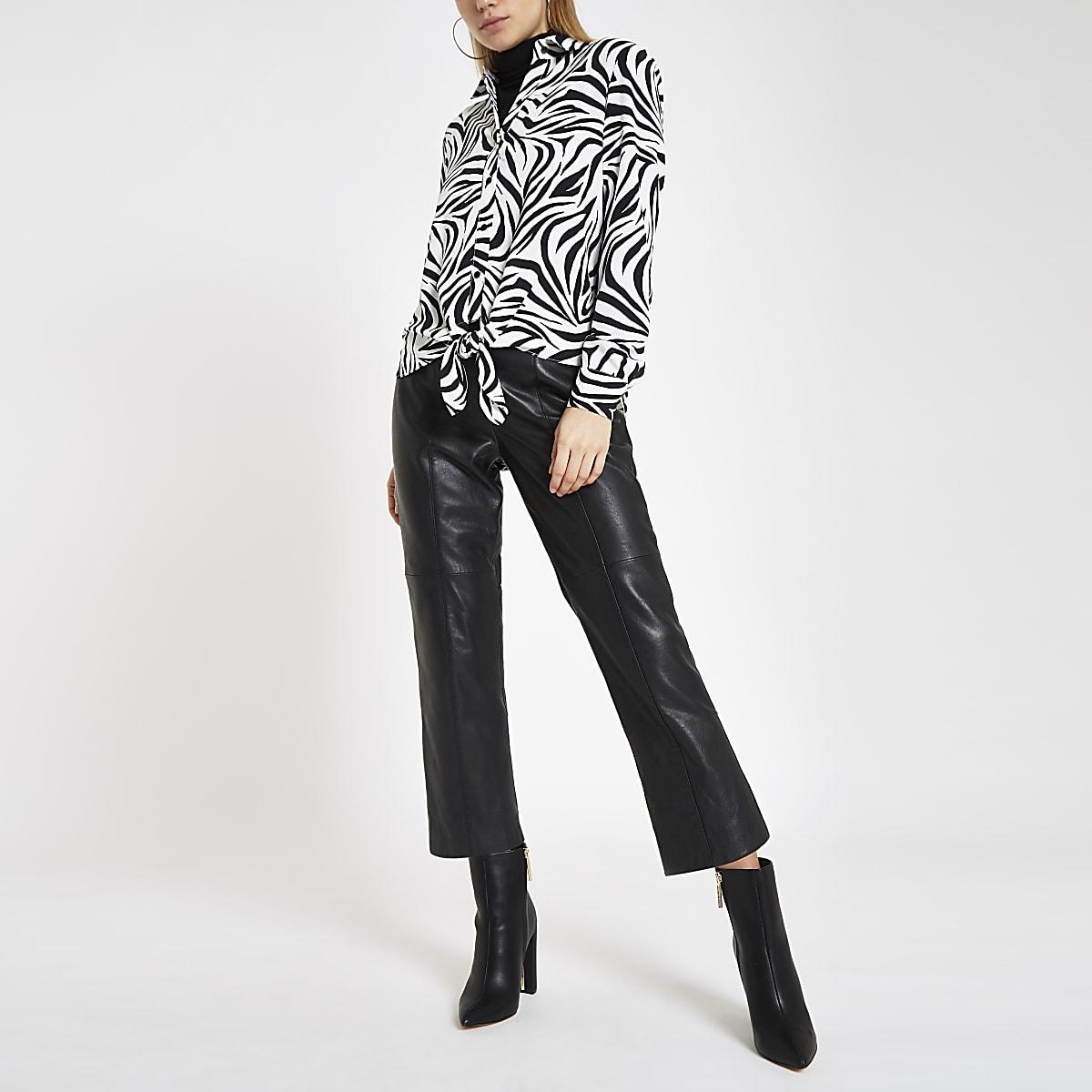 Wit overhemd met zebraprint en strik voor