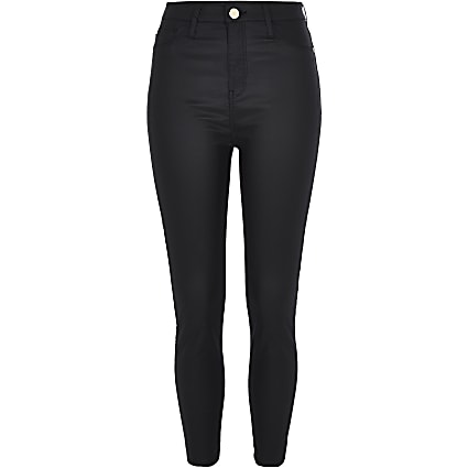 Petite black Harper coated high rise jeans
