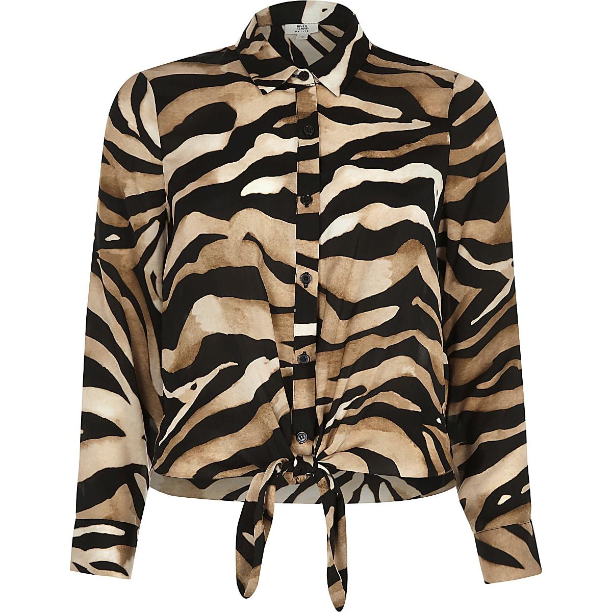 Bruin Overhemd.Ri Petite Bruin Overhemd Met Zebraprint En Knopen Overhemden