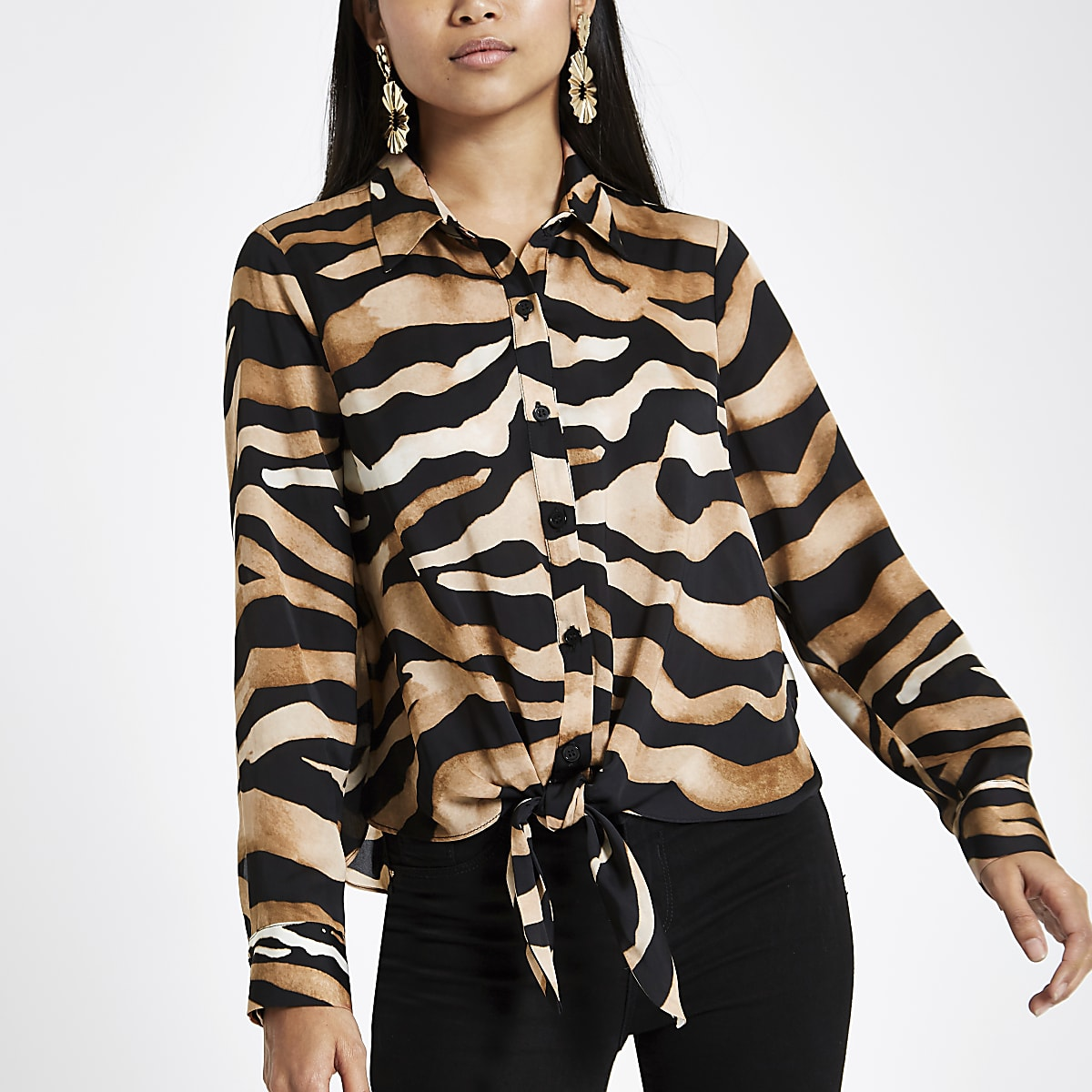 Petite brown zebra print button-up shirt
