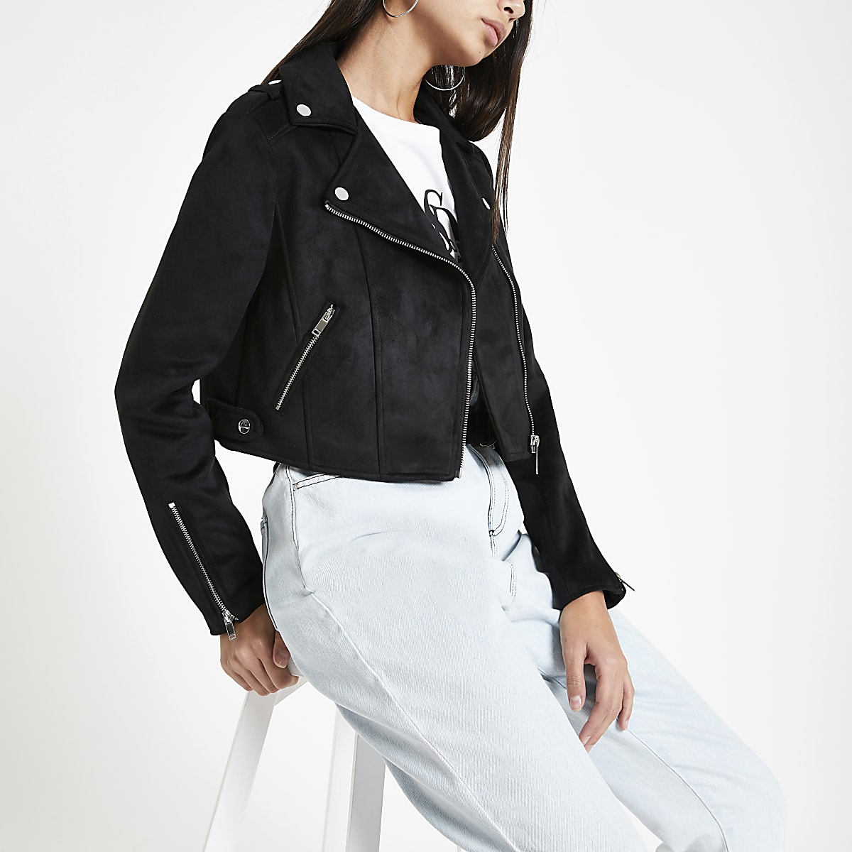 Black faux suede cropped biker jacket