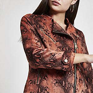 Orange snake print faux suede biker jacket