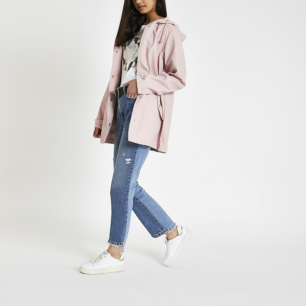 Light pink waterproof hooded rain mac