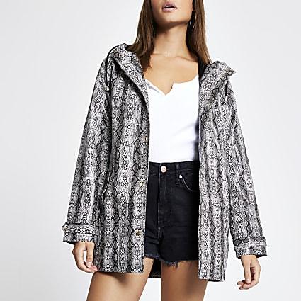 Grey snake print waterproof hooded rain mac
