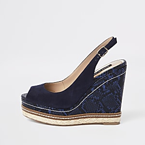 Navy suede espadrille trim wedges