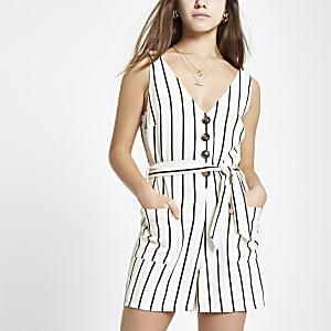 Cream stripe tie waist playsuit