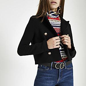 Petite black button jersey cropped blazer