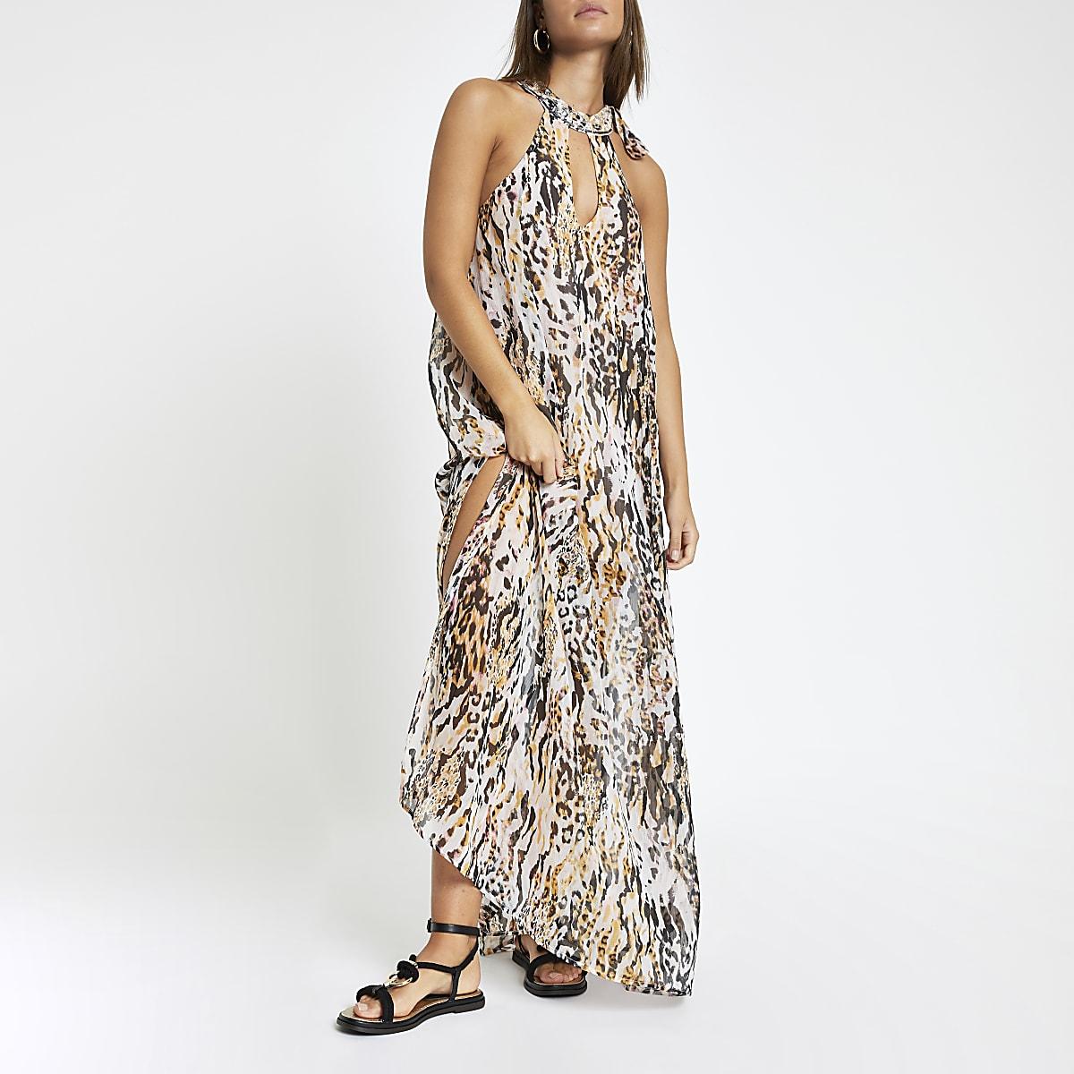 White animal print embellished beach dress