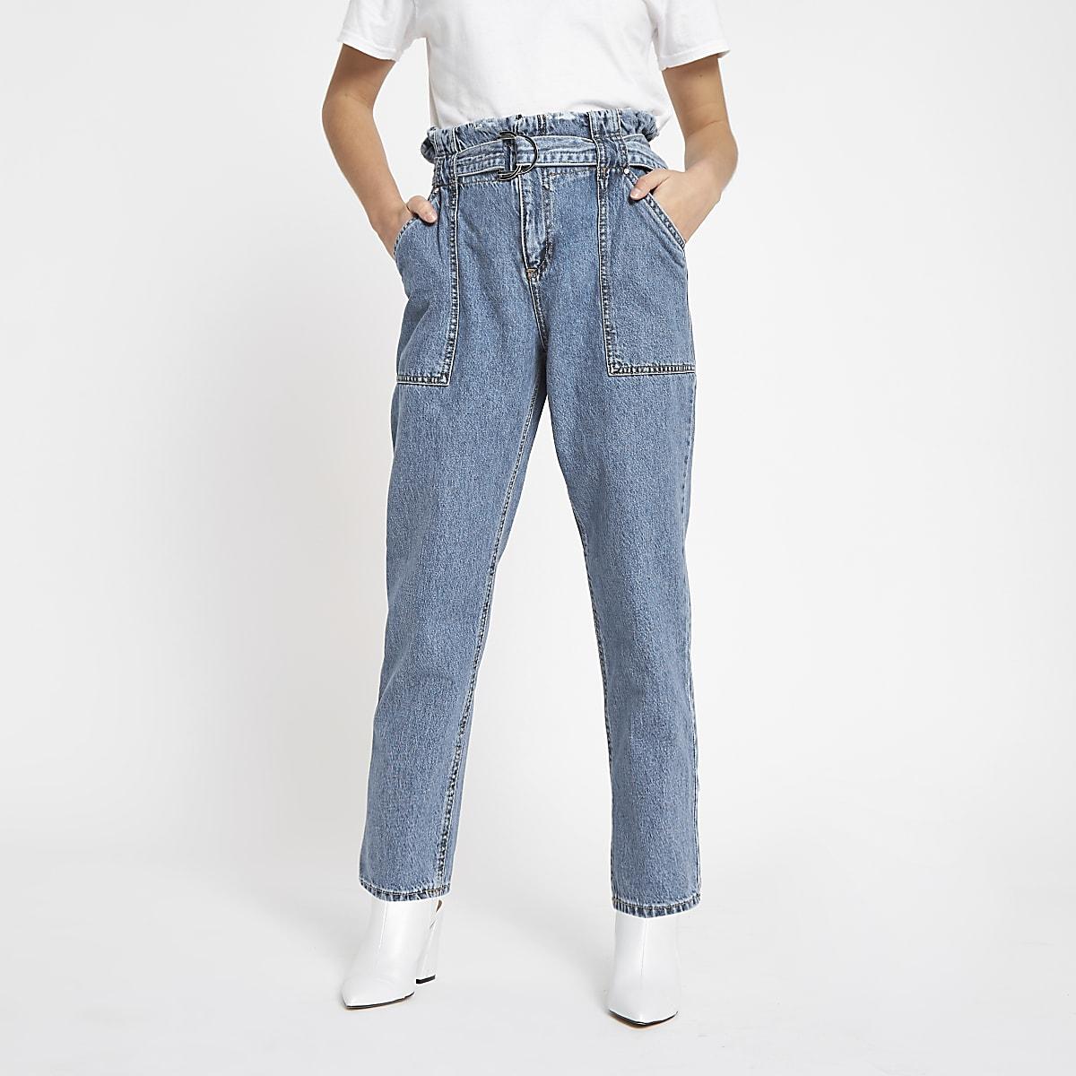 Petite blue paperbag denim jeans