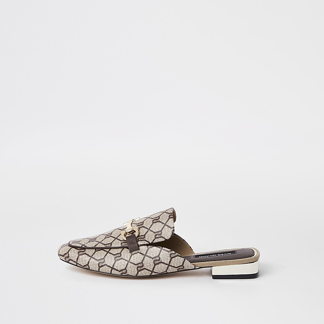Brown RI monogram backless loafer