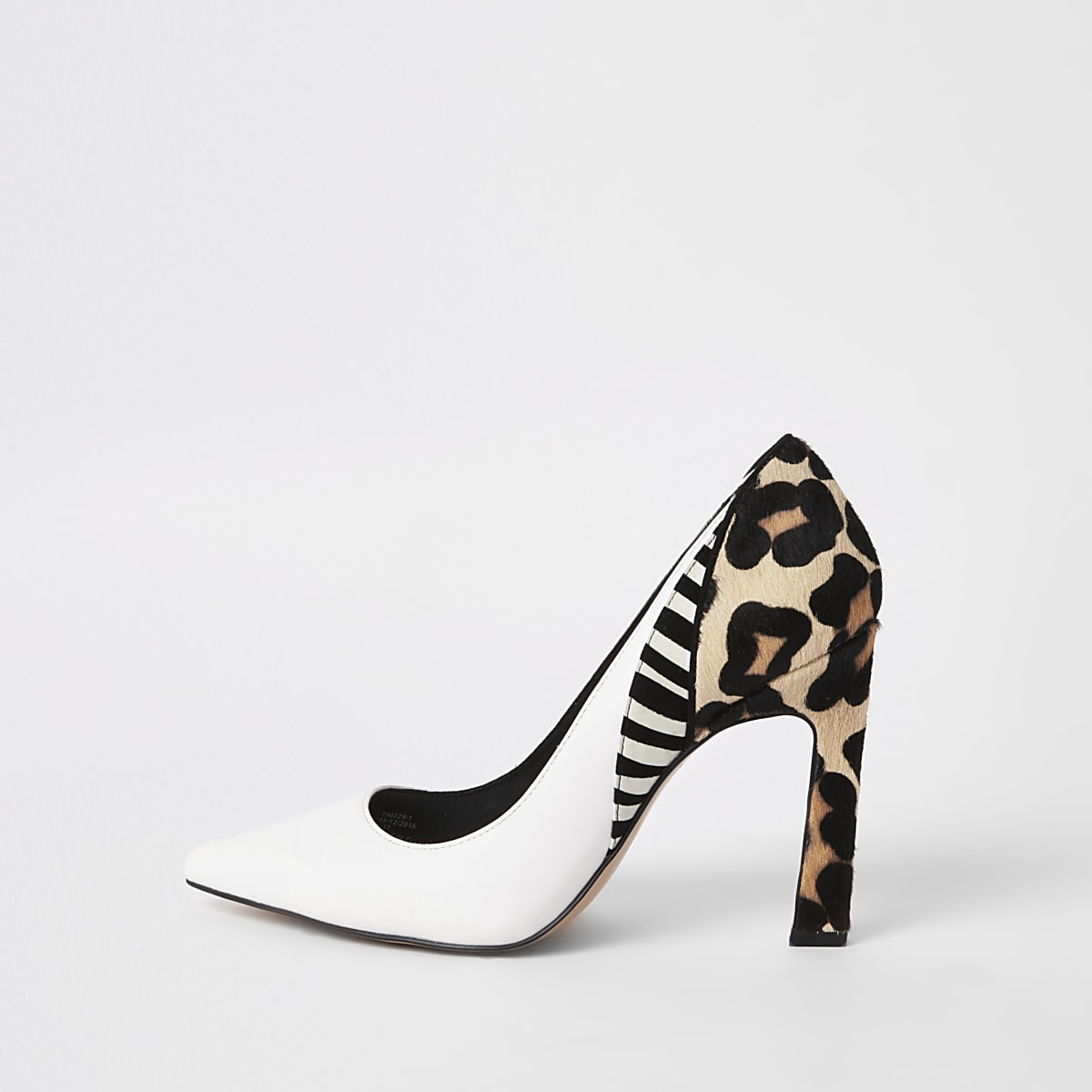 White animal print spliced heel court shoes