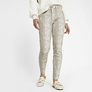 Petite white Molly snake print jeggings