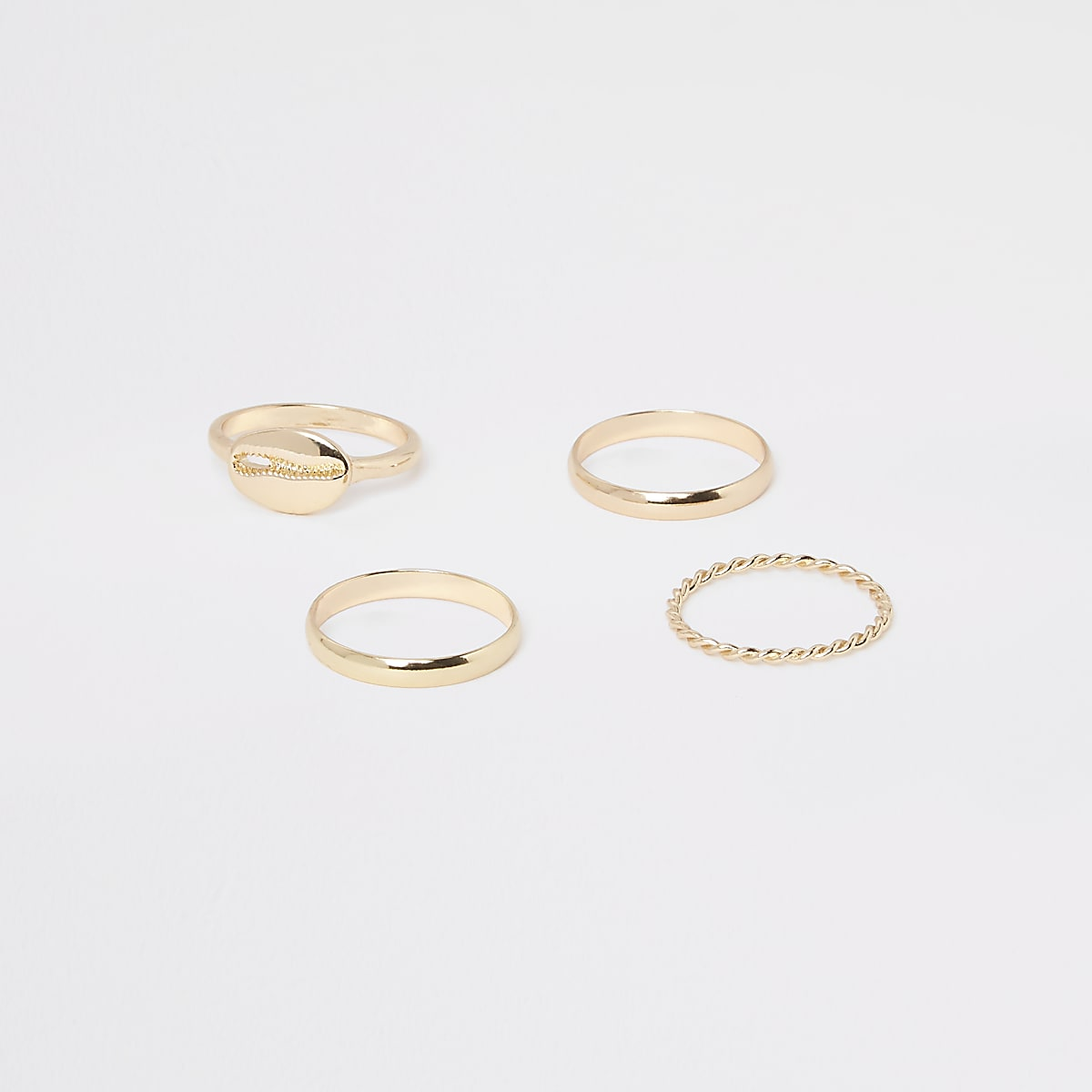 Gold color cowry ring pack
