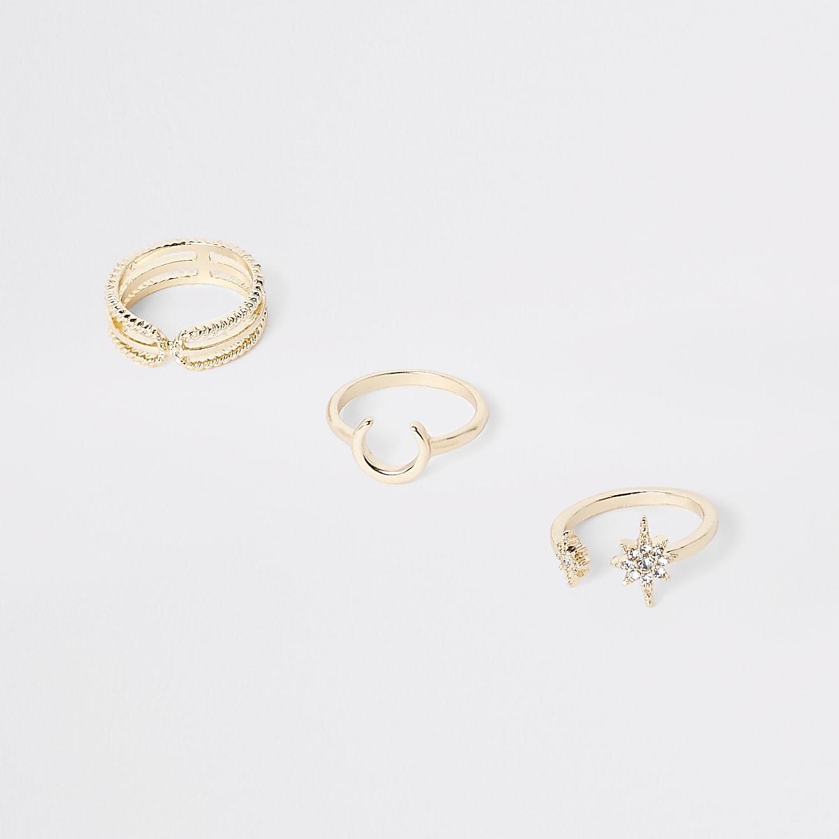 Gold color rhinestone horseshoe ring pack