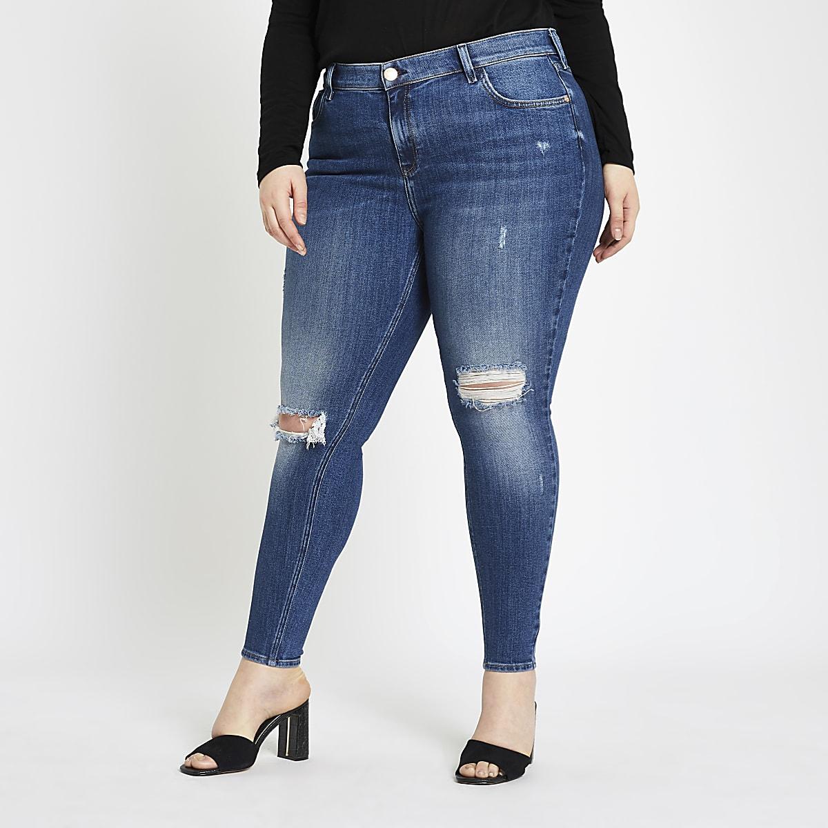 Plus dark blue Amelie ripped jeans