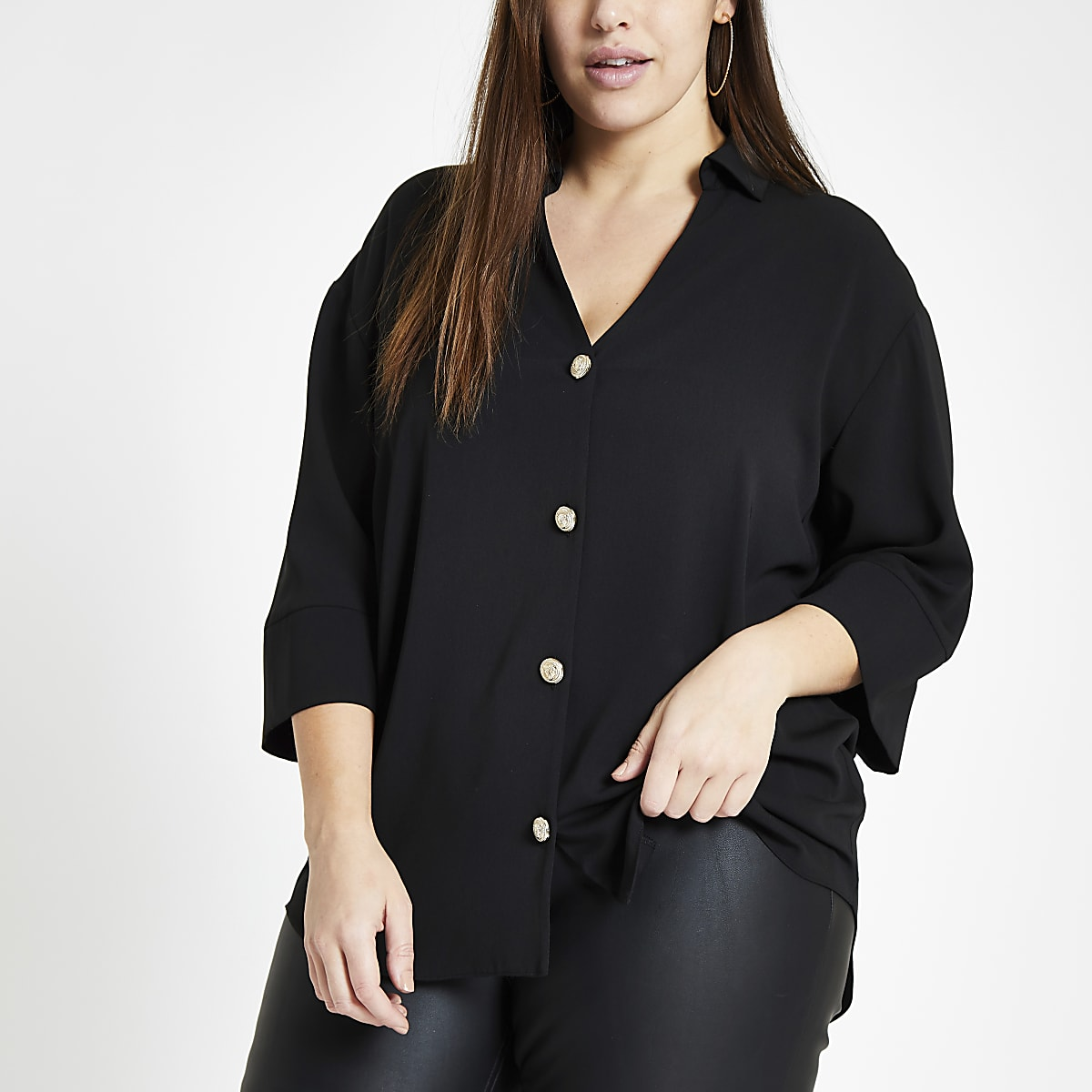 Plus black button front bar back blouse