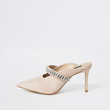 Pink diamante embellished heeled mules