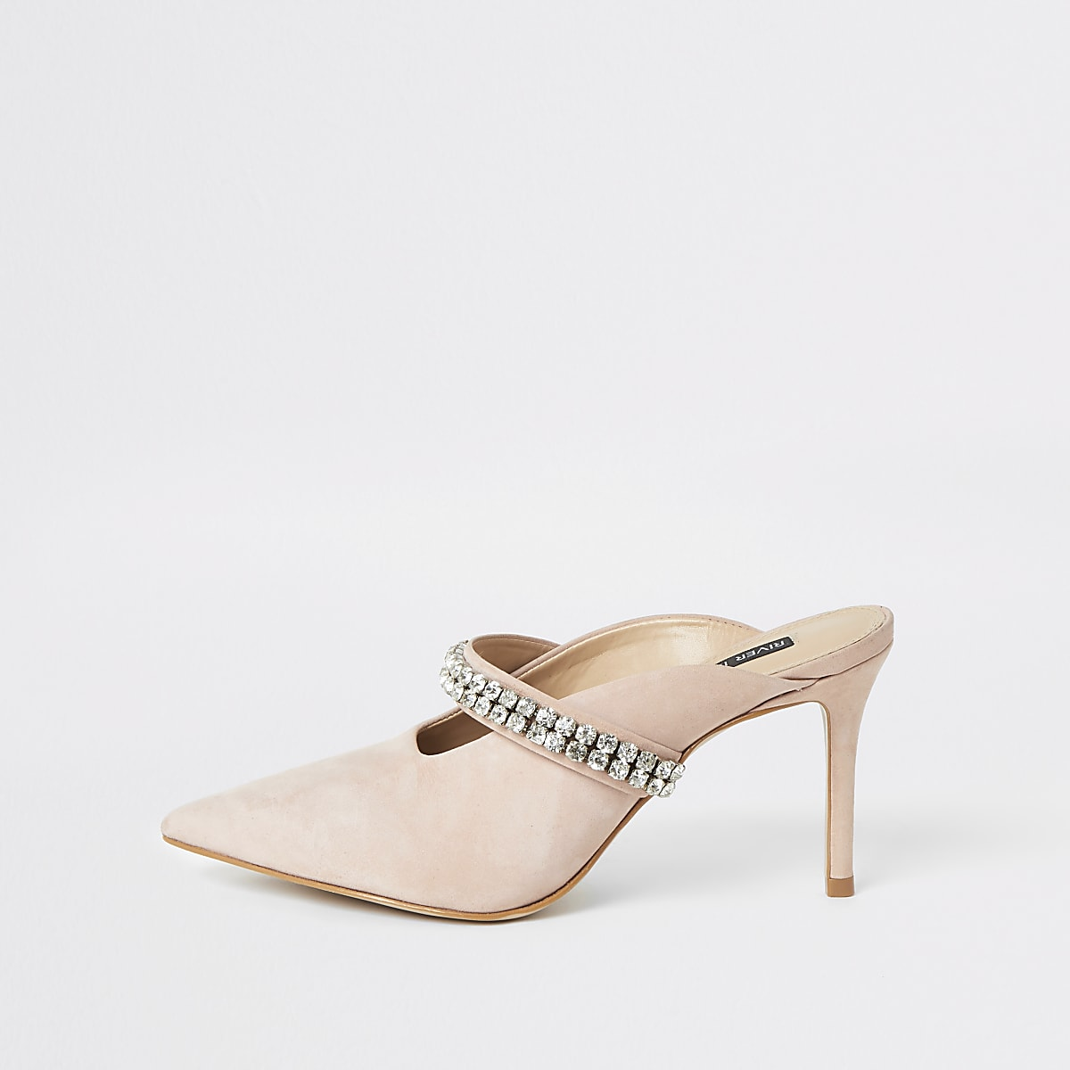 Pink rhinestone embellished heeled mules
