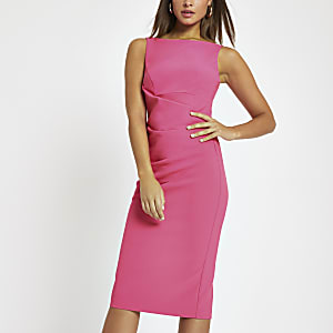 Bright pink bodycon midi dress