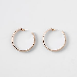 Rose gold colour leopard print hoop earrings