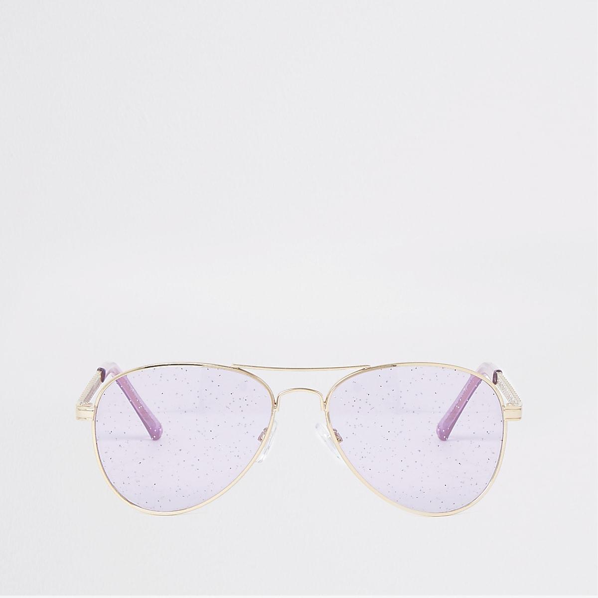 Gold tone glitter lens aviator sunglasses