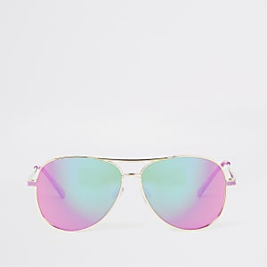Gold colour pink lens aviator sunglasses