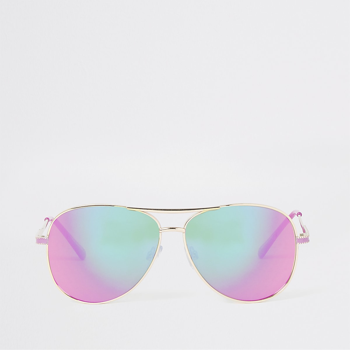 Gold color pink lens aviator sunglasses