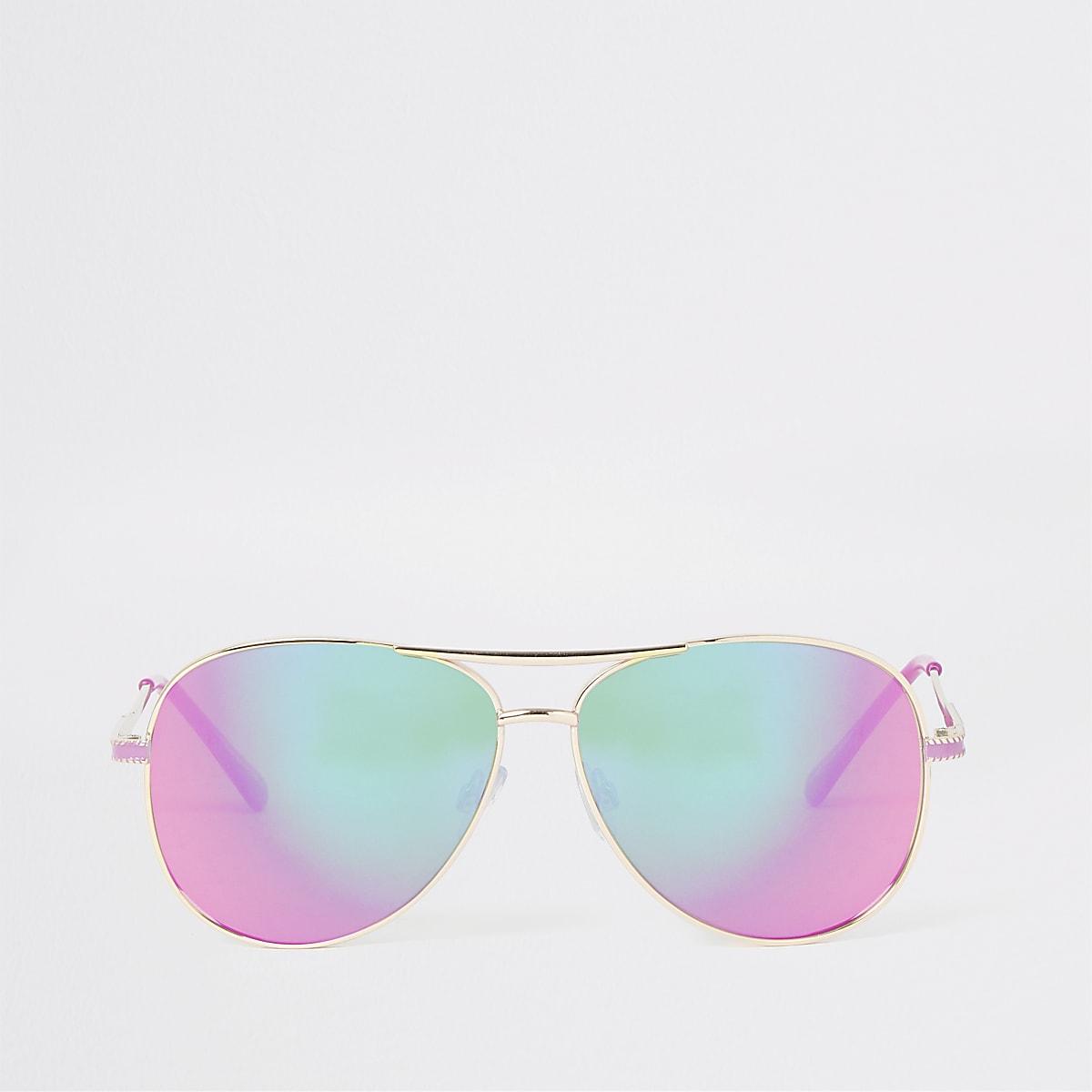 Lunettes de soleil aviateur dorées aux verres roses