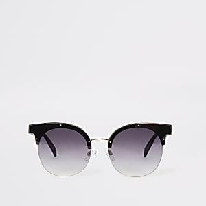 Brown half frame glam sunglasses