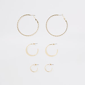 Gold color mixed size hoop earrings pack