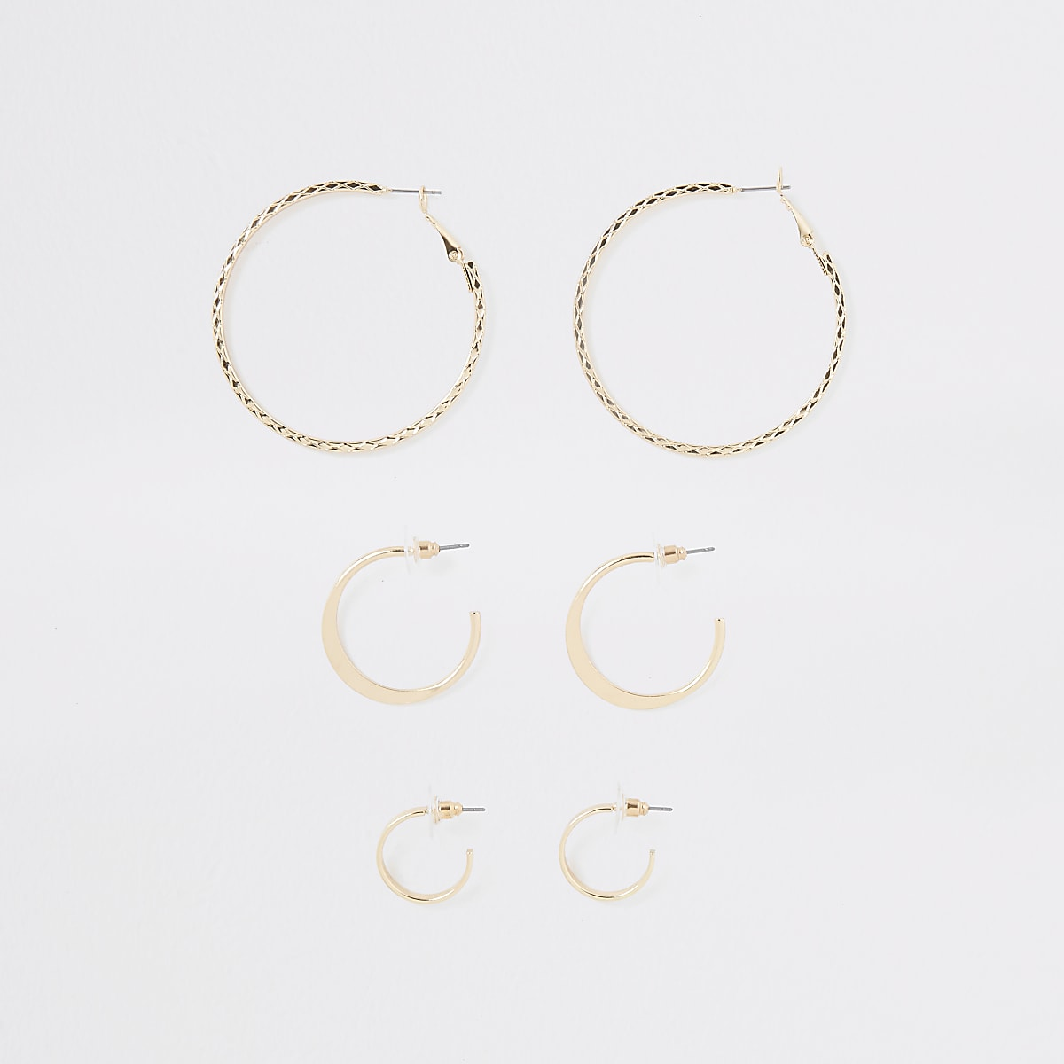 Gold colour mixed size hoop earrings pack