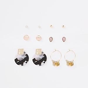 Gold colour tortoise shell earring multipack