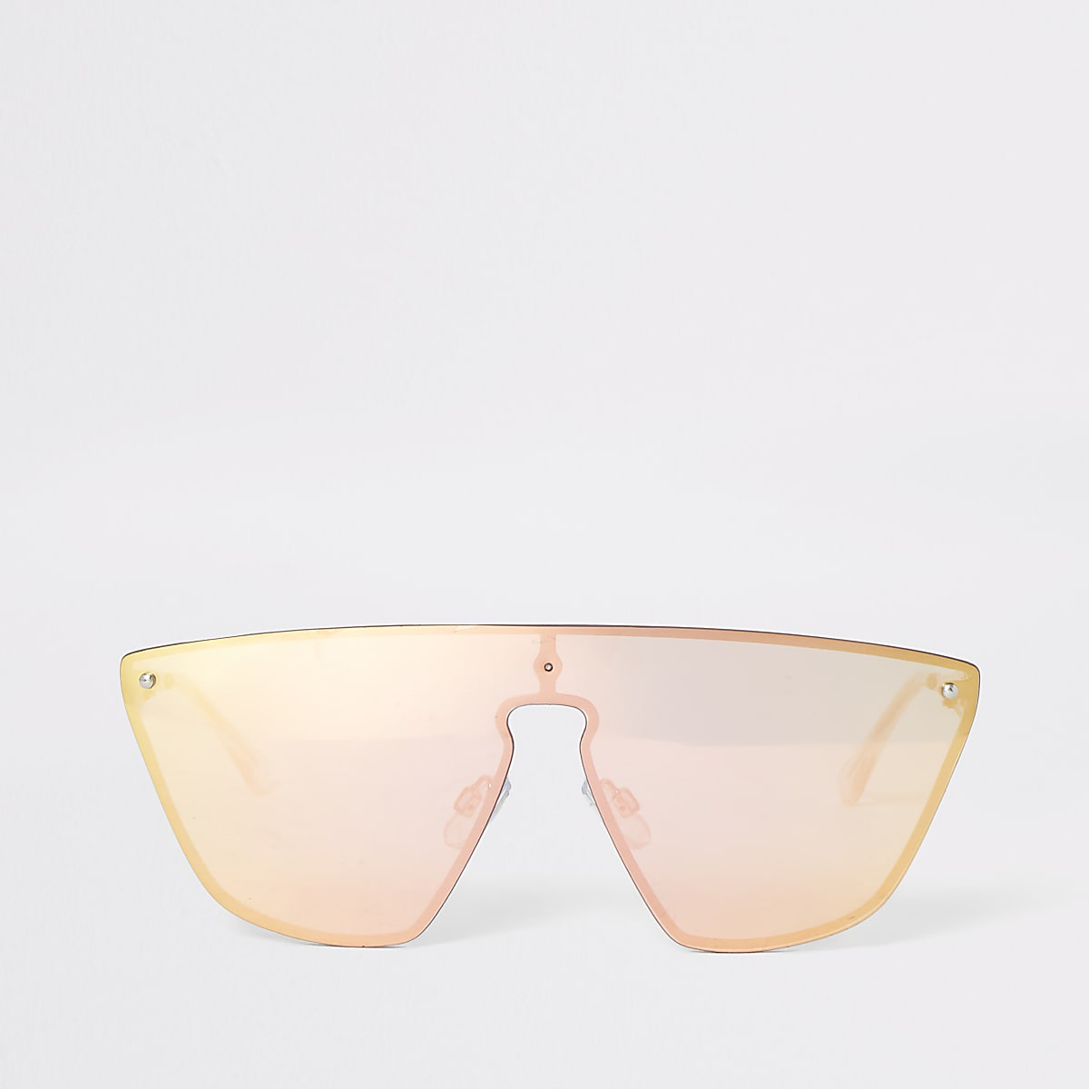Gold tone visor sunglasses