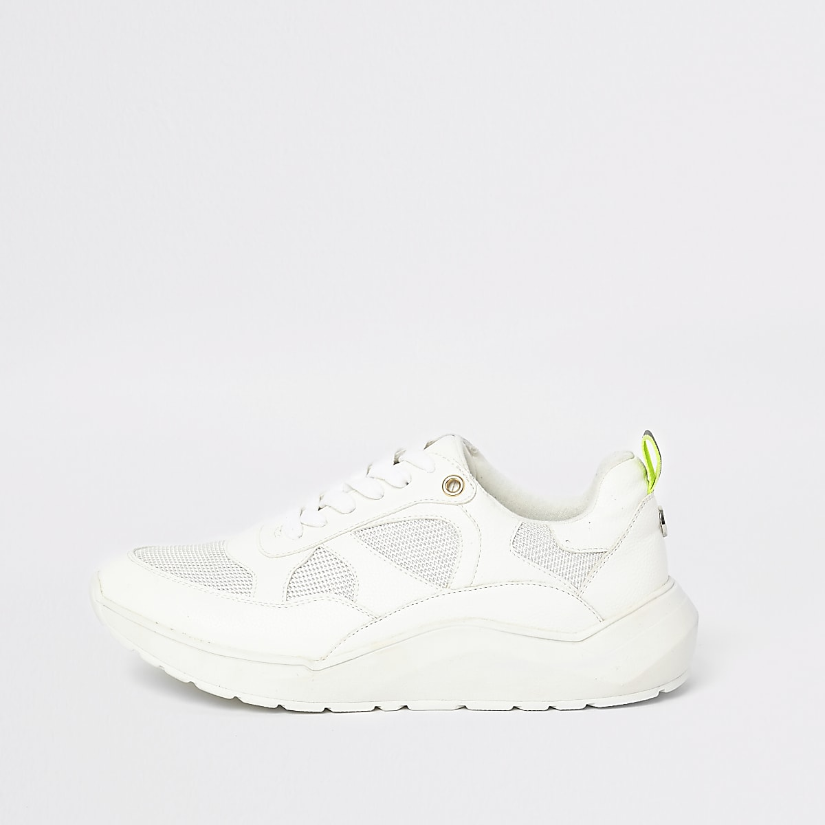 White lace-up runner trainers