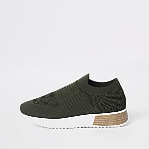 Khaki knitted runner sneakers