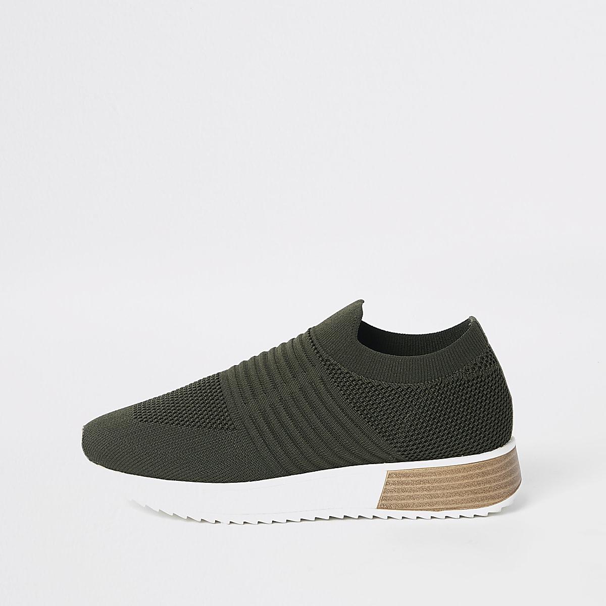 Khaki knitted runner sneakers