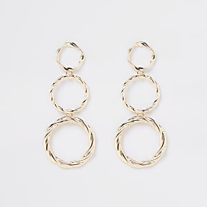 Gold colour  triple drop hoop earrings