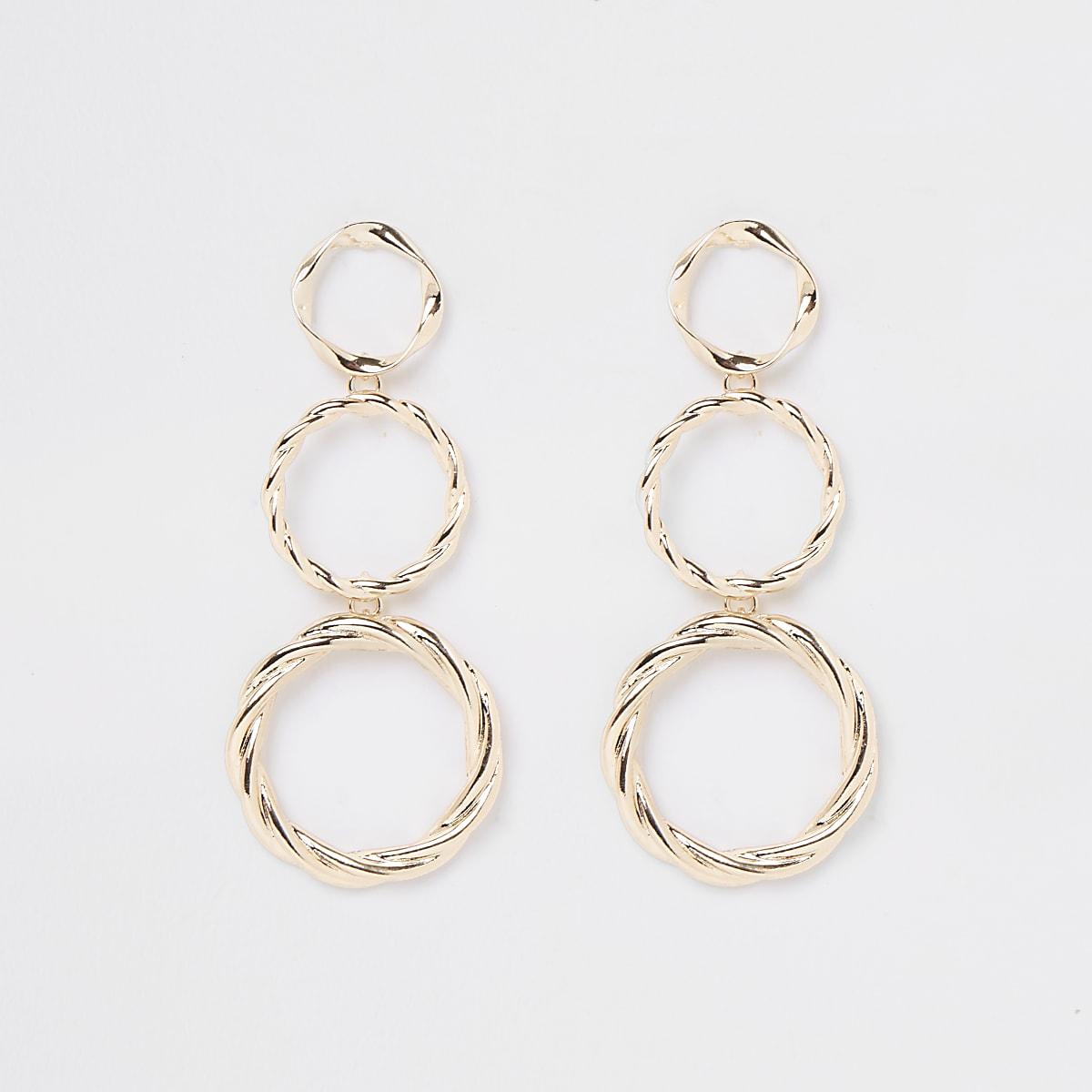 Gold color triple drop hoop earrings