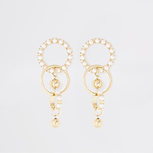 Gold color chunky pearl drop earrings