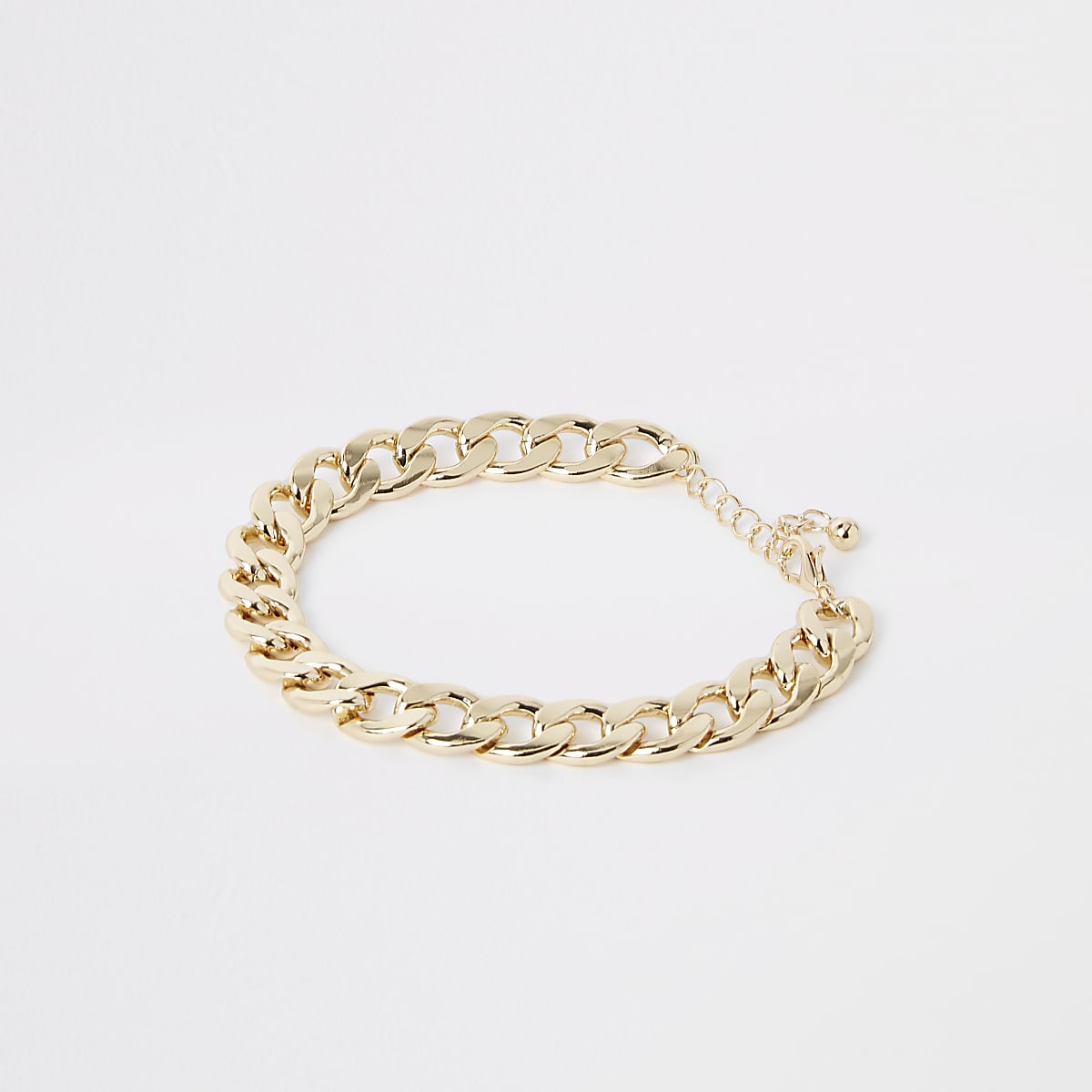 Gold colour chunky curb chain anklet