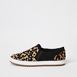 Brown leopard print slip on sneakers