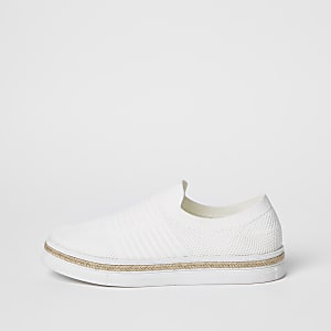 White knitted runner espadrille trainers