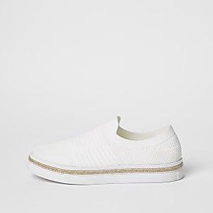 Witte gebreide espadrillesneakers