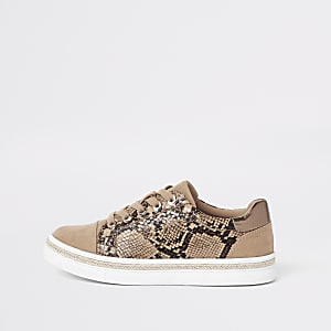 Brown snake print lace-up trainers